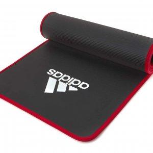 Коврик для йоги и фитнеса чёрно-красный с ремешком.