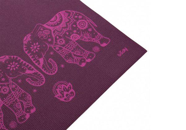 Коврик для йоги Leela Elephant / Mandala баклажановое.