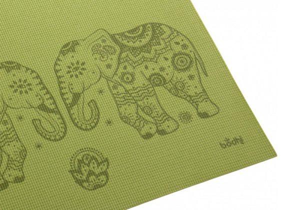Коврик для йоги Leela Elephant / Mandala зелёное.